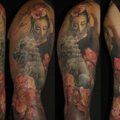 Laura Juan realistic full sleeve tattoo