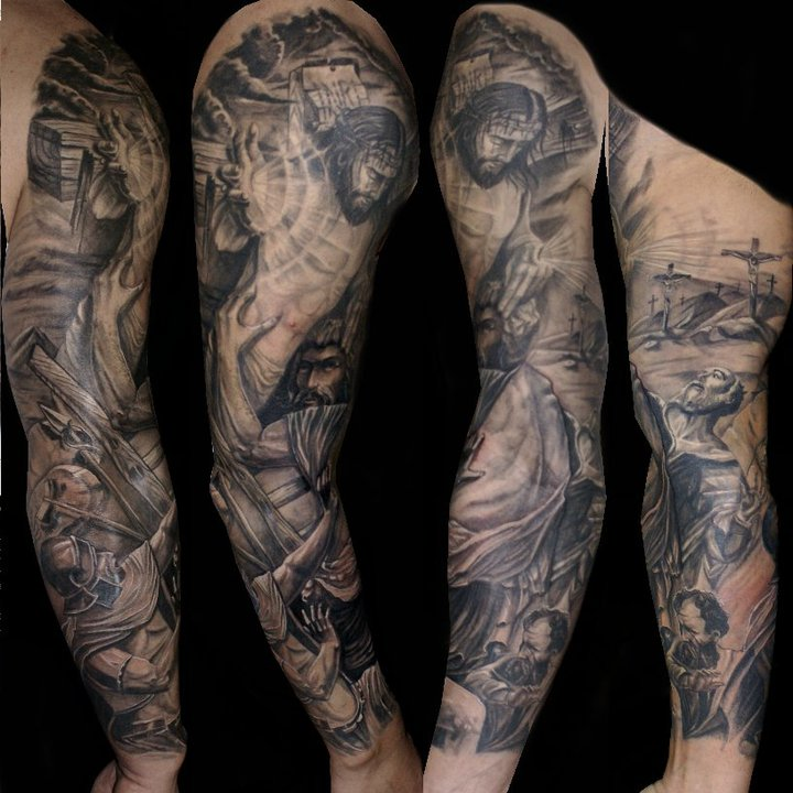 religious full sleeve by csaba kolosvari design of tattoosdesign of tattoos. Black Bedroom Furniture Sets. Home Design Ideas