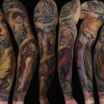 Csaba Kolozsvari religious sleeve tattoo design