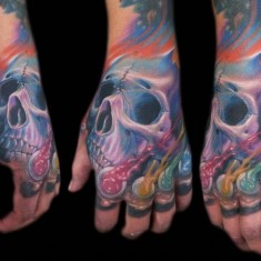 Zhivko Baychev colorful hand tattoo