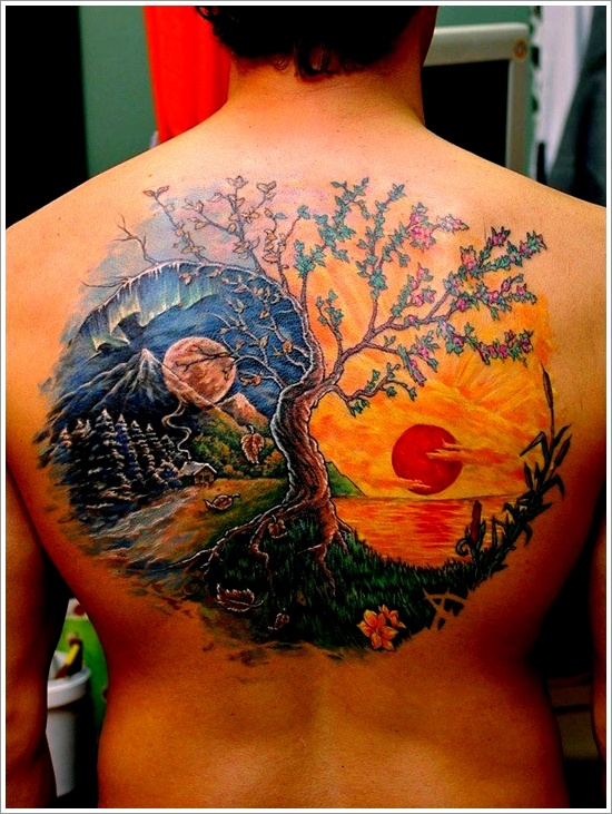 Colorful Yin Yang Tattoo On Back Design Of Tattoosdesign Of Tattoos