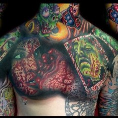 Brandon Bond extreme chest tattoo