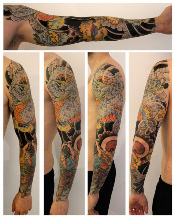 Full sleeve dragon tattoo by rob kelly design of for Full custom tattoo