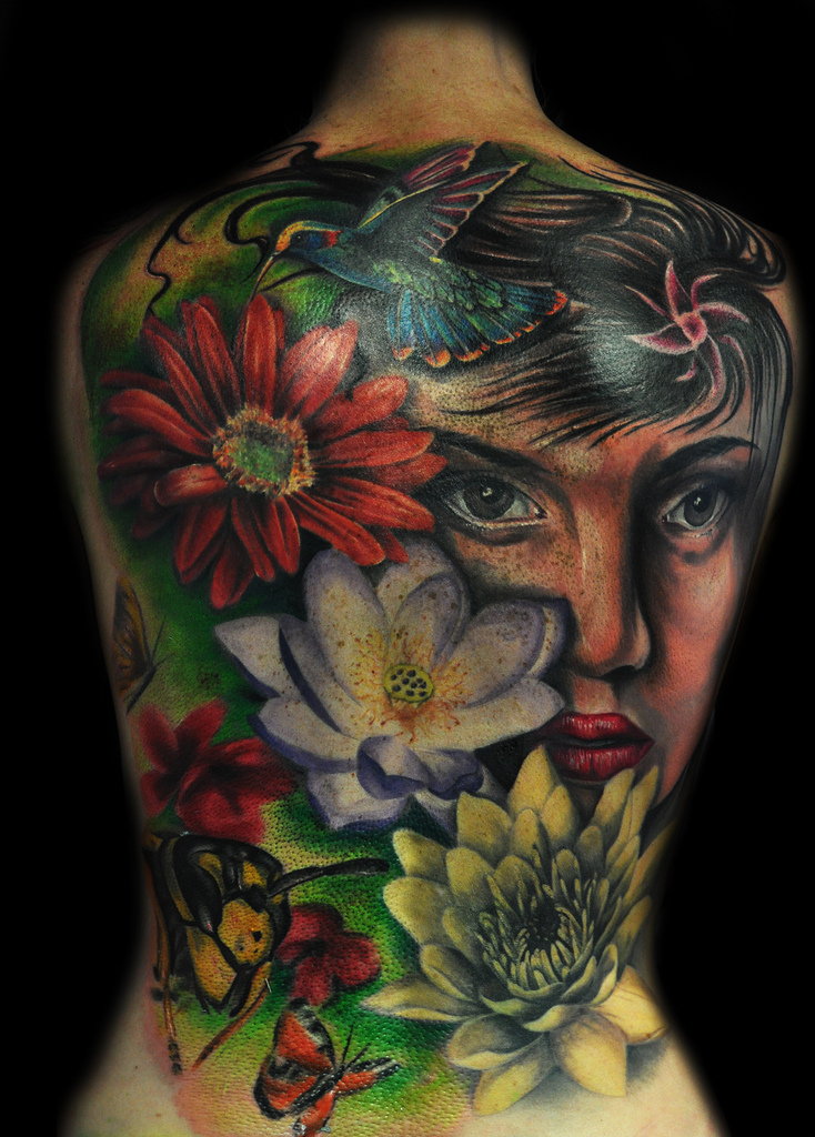 Amazing full back tattoo by max pniewski design of for Whole back tattoos