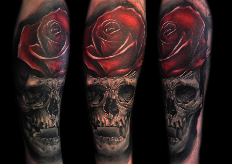 Max Pniewski amazing skull and rose tattoo