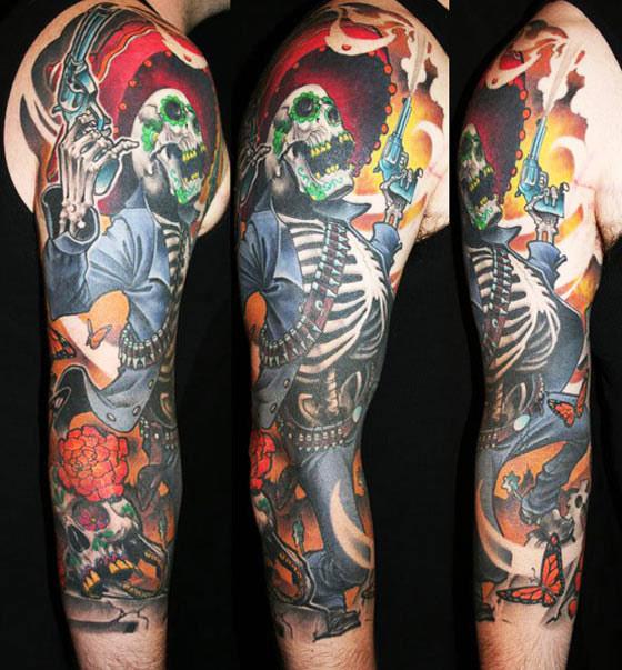 James Tex amazing skull full sleeve tattoo