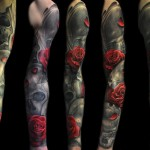 Max Pniewski black and red full sleeve rose tattoo