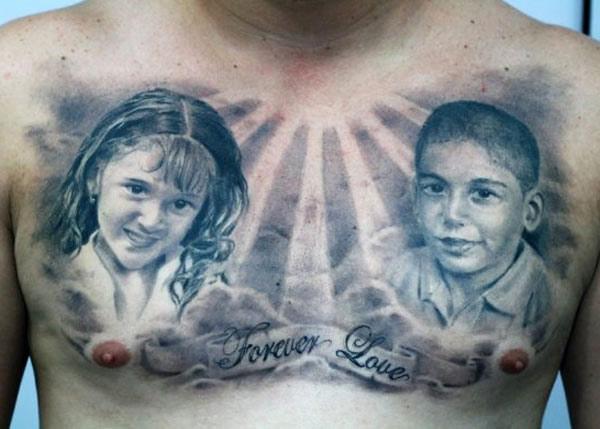 Darwin Enriquez chest tattoo design
