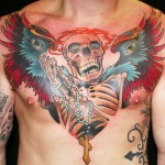 James Tex chest tattoo design