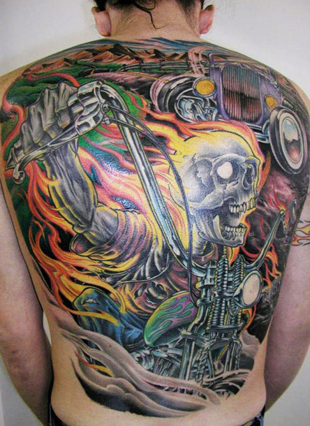cool full back skull tattoo by james tex design of tattoosdesign of tattoos. Black Bedroom Furniture Sets. Home Design Ideas