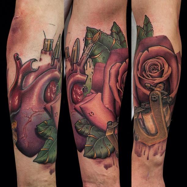 John Anderton creative rose tattoo