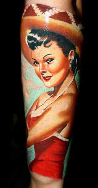 Janos Kovarik cute woman portrait tattoo