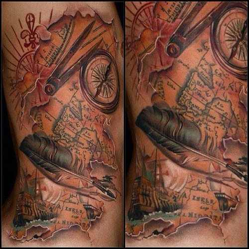 detailed map tattoo design design of tattoosdesign of tattoos. Black Bedroom Furniture Sets. Home Design Ideas