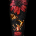 Max Pniewski flower and skull tattoo