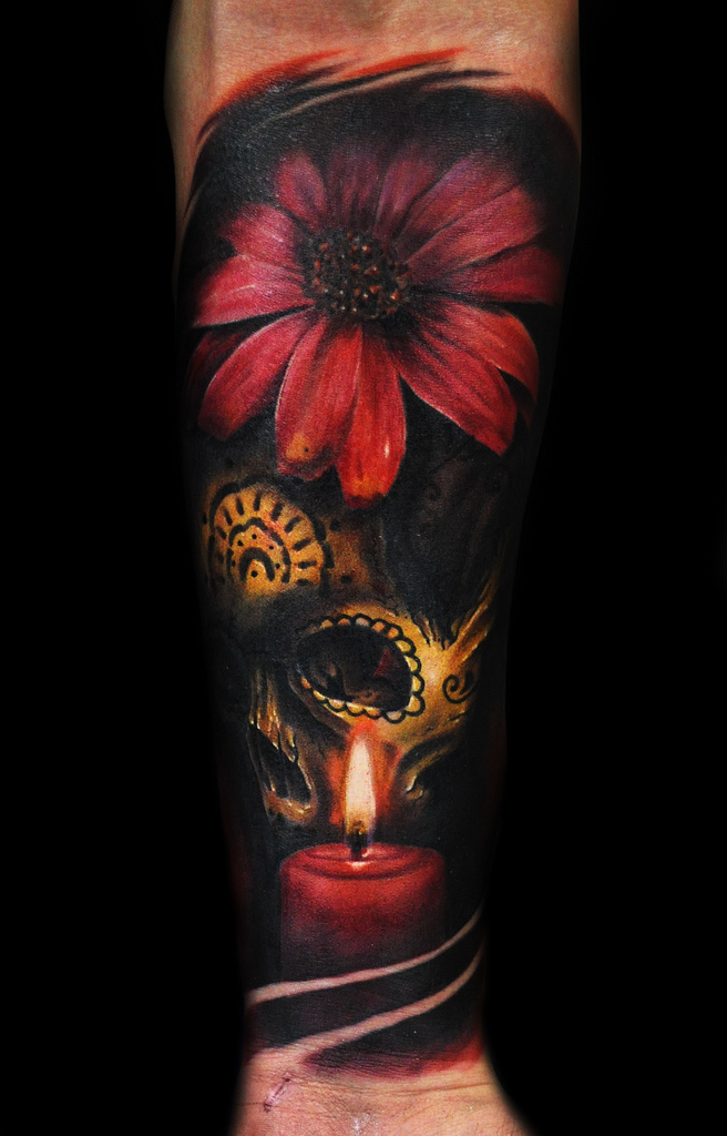 Flower and skull tattoo by max pniewski design of for Skull and flowers tattoos