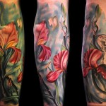 Max Pniewski flower tattoo in amazing colors