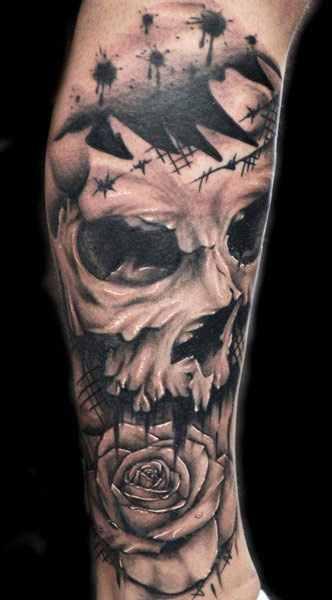 full sleeve skull tattoo by joe carpenter design of tattoosdesign of tattoos. Black Bedroom Furniture Sets. Home Design Ideas
