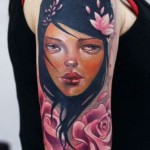 Darwin Enriquez girl portrait tattoo design
