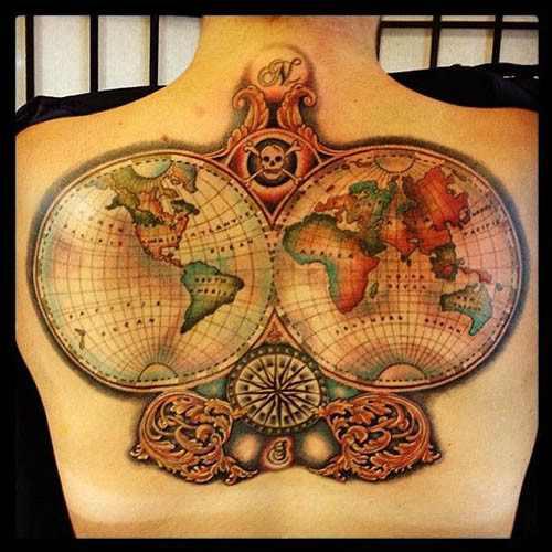 map tattoo design on back design of tattoosdesign of tattoos. Black Bedroom Furniture Sets. Home Design Ideas