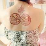 world globe tattoo on back