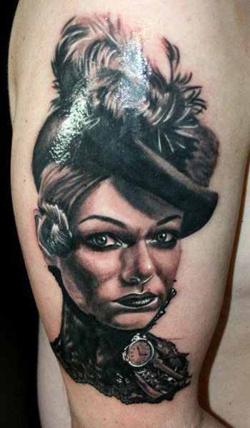 Janos Kovarik monochrome portrait tattoo