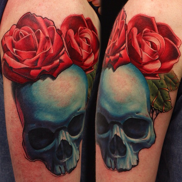 John Anderton rose and skull tattoo
