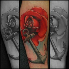 John Anderton rose tattoo on sleeve