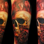 Max Pniewski skull and rose tattoo