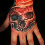 Mario Hartmann skull and roses tattoo