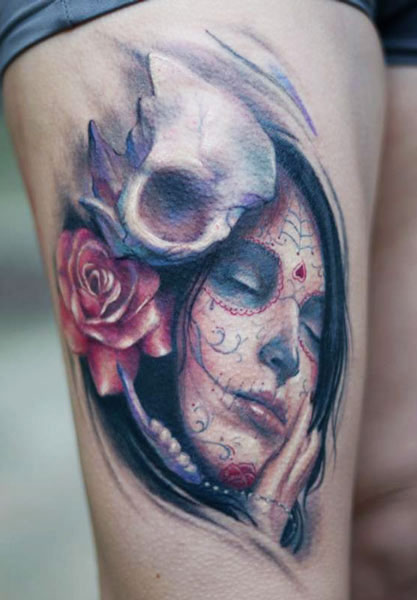 Darwin Enriquez skull and portrait tattoo