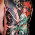 James Tex skull tattoo designed on back