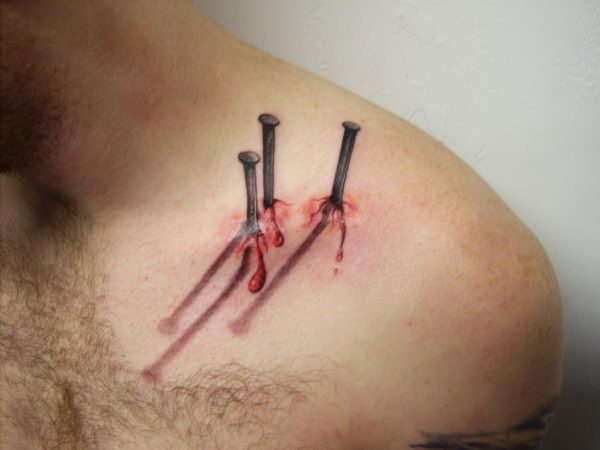 3d nails collar bone tattoo design of tattoosdesign of for Small collar bone tattoos