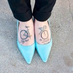 bicycle tattoo design on feet