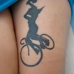 black bicycle tattoo design