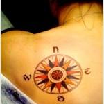 colourful compass tattoo design