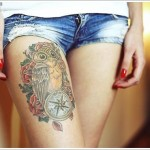 compass and owl tattoo design
