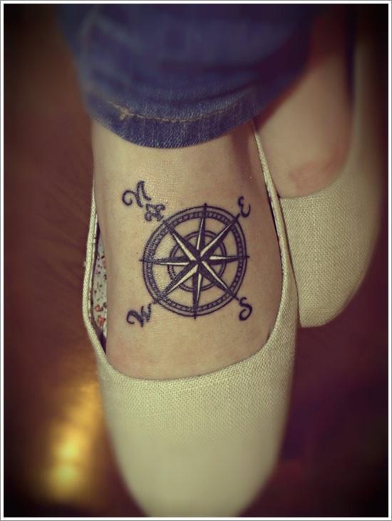 compass tattoo on foot - Design of TattoosDesign of Tattoos