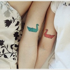 swan tattoo for couples