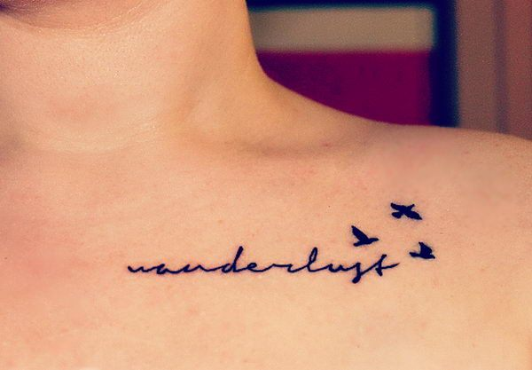 Letters And Birds Collarbone Tattoo Design Design Of Tattoosdesign Of Tattoos