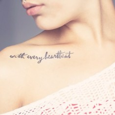 message collarbone tattoo design