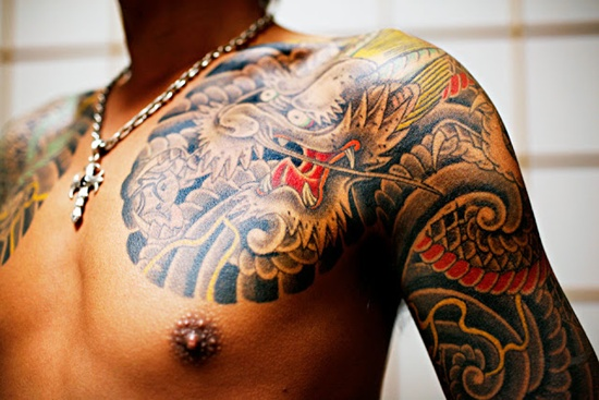 black and red yakuza tattoo
