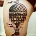 hot air balloon tattoo designed by Clay McCay