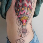 hot air balloon tattoo on sidebody