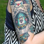 detailed half sleeve hot air balloon tattoo