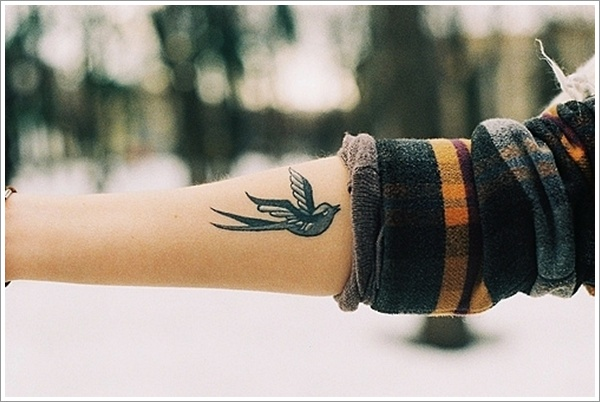black ink swallow tattoo