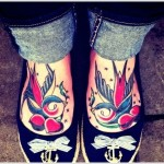 swallow tattoo on feet