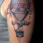 vintage style hot air balloon tattoo