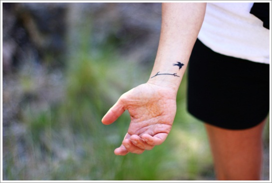 small bird wrist tattoo design