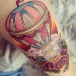 creative hot air balloon tattoo