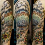 detailed hot air balloon tattoo design